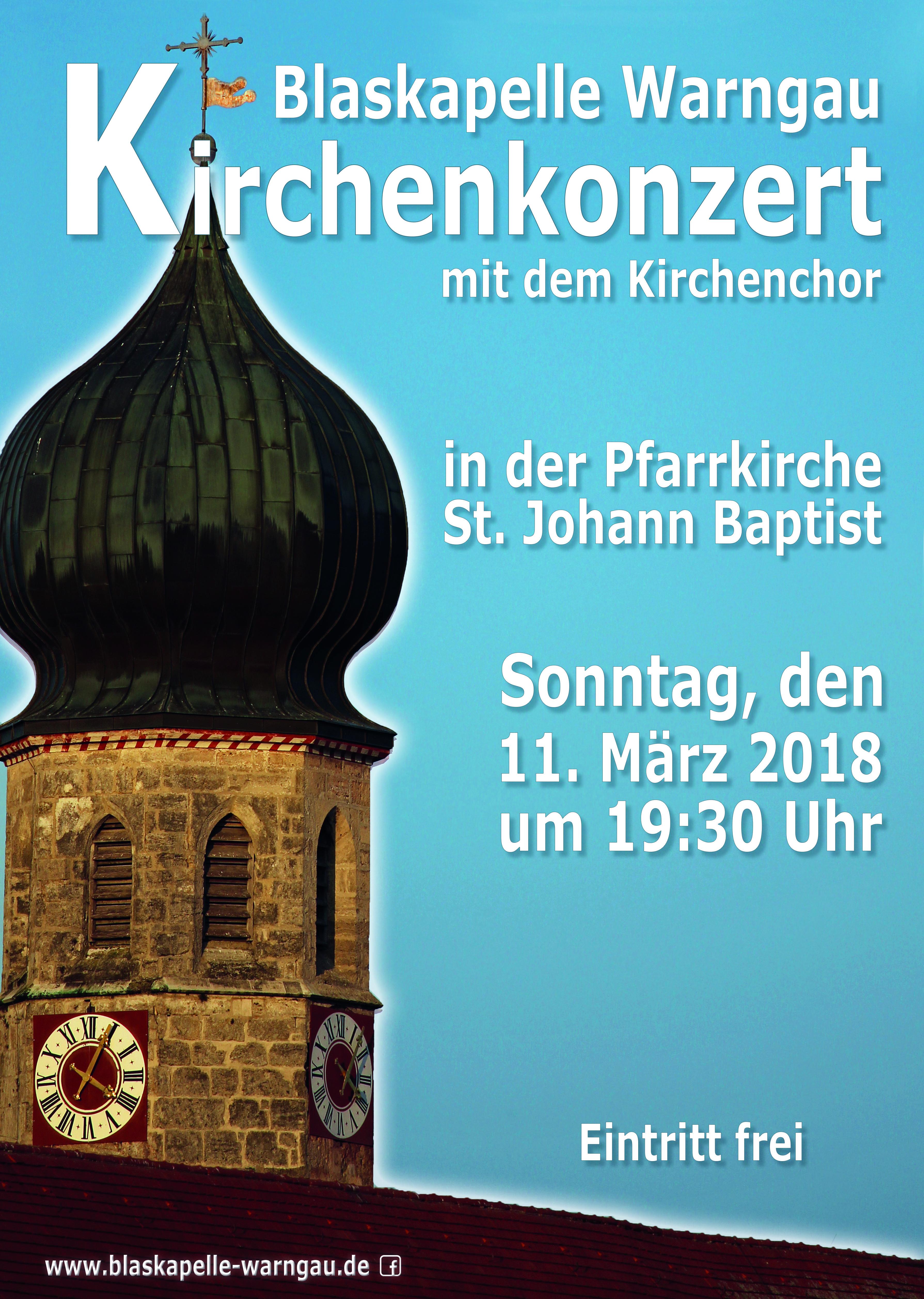 Blaskapelle Warngau, Kirchenkonzert, Kirchenchor, Blasmusik, Blaskapelle, Warngau, Kirche, Plakat, Plakat Blaskapelle