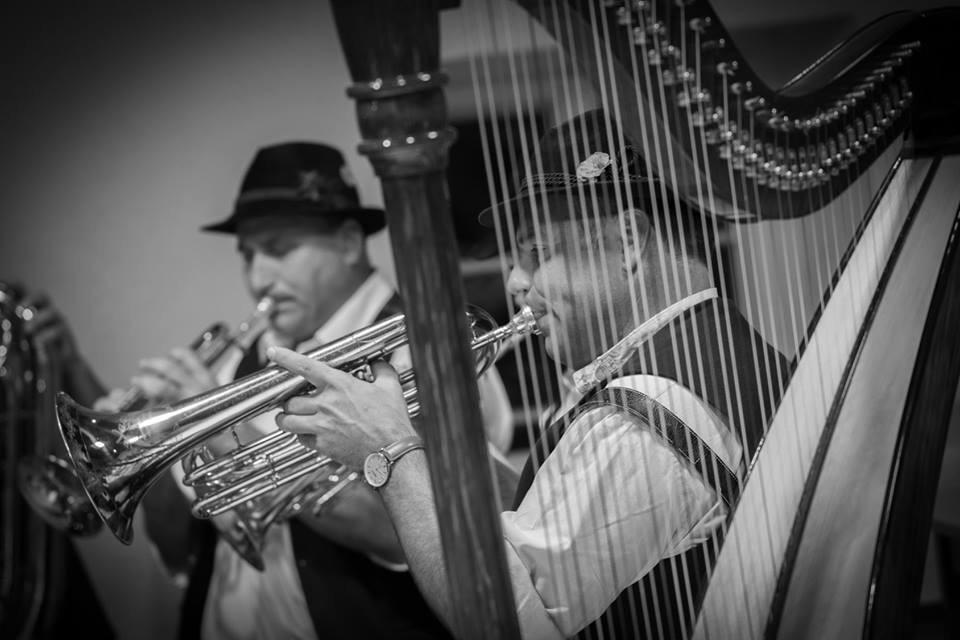 schwarz-weiß Fotografie, Veranstaltung, Zither, Trachtenverein